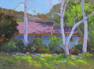 Morning Light (Theodore Payne Headquarters Building), Oil, © 2014 Frank Lennartz. All rights reserved.
