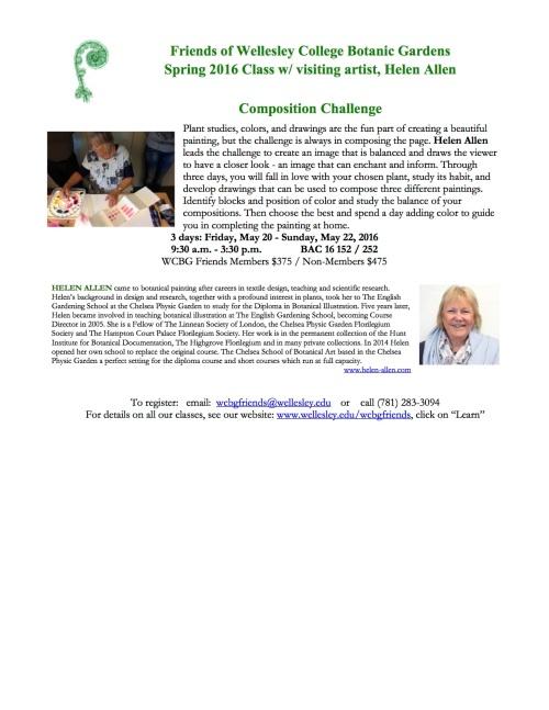 BAC ArtPlantae publicity for Spring Helen Allen class